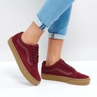 Vans Suede Old Skool Trainers In Burgundy With Gum Sole at asos.com