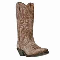 Laredo Ladies Cowboy Boots Maricopa Tan Crackle Finish Goatskin Leather