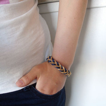 Navy Blue Braided Bracelet With Golden Accents - Free Shipping