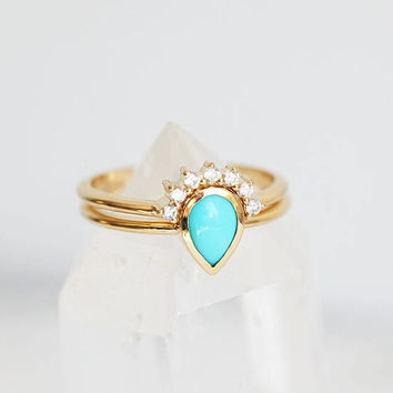 Turquoise Ring, Turquoise ring Set, Pear turquoise Ring with Diamond Crown Ring, 18k Gold Engagement Ring Set