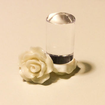 00g, 0g, 2g, 4g, 6g, 8g Ivory Rose Plugs, Wedding Plugs, Bridal Jewelry, Bridesmaids, Formal Wear, Special Occasion