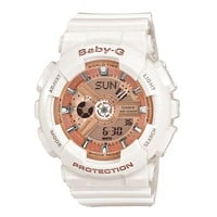 Ladies' Casio Baby-G Ani-Digi White Resin Champagne Dial Watch