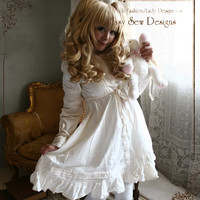 Princess Lolita Babydoll Empire Waist Button Dress Vintage/Antique White/Beige