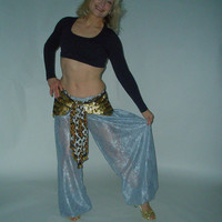 "Belly Dance Pants, Lace Harem Pants, Gypsy Dance Pants, Silver Pantaloons, Tribal Dance Pants, ""Hazine"""