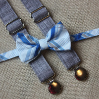 Blue, Gray and White Plaid Bow Tie and Gray texture Suspenders set  ( Men, boys, baby, toddler, infant Suspender and Bowtie )
