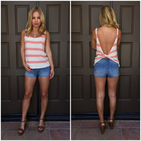 What a Twist Tank - Cream & Coral