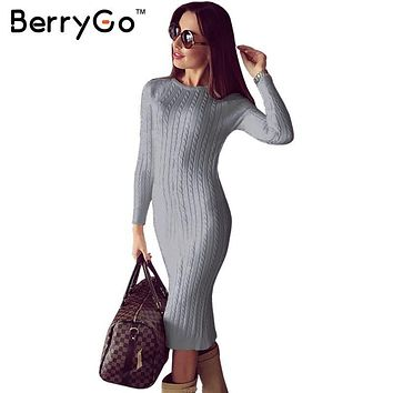 BerryGo Winter split knitted bodycon dress women Sexy long sleeve midi dress 2016 Elegant warm slim sweater dress vestidoes