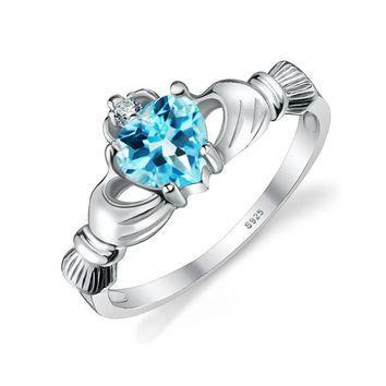JewelryPalace Natural Blue Topaz Irish Claddagh Ring Solid 925 Sterling Silver Friendship Heart Love Rin Fine Jewelry for Women