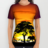 Wild Animals on African Savanna Sunset All Over Print Shirt by bluedarkatlem