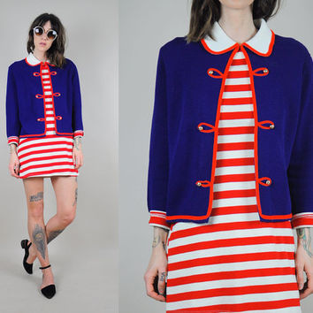 British MOD vtg 60's CARDIGAN Sweater sailor pan collar Military Sergeant Pepper 70's nautical jumper