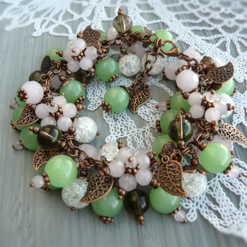 Beaded bracelet cluster jewelry flower bracelet green summer jewelry pink bracelet woman jewelry flower jewelry summer bracelet beaded jewel