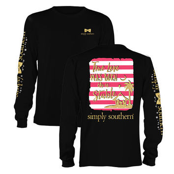 Simply Southern Christmas True Love Was Born Long Sleeve T-Shirt
