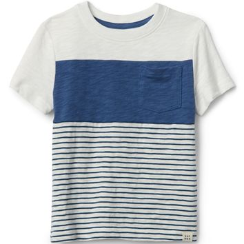 Chest-Stripe Crewneck T-Shirt|gap