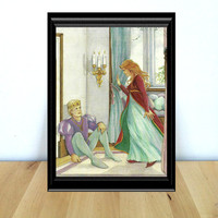 The Princess and the Frog, Fairy Tale Themed Kids Decor Print (1990s} Vintage Book Page