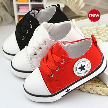 New 2017 Baby Casual Shoes 3 Colors Classic Baby Canvas Shoes Fashion Brand Baby Boys sneakers lace-up kids shoes for baby girls
