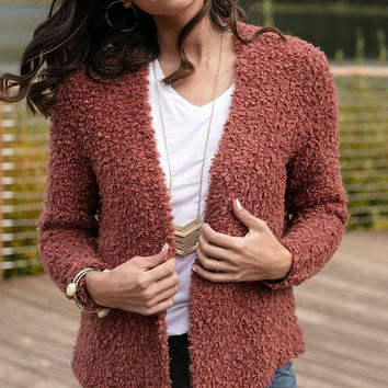 Grace & Lace Colorado Cozy Cardigan (Terracotta)
