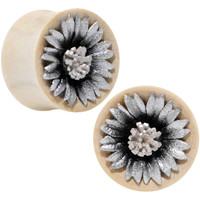 "3/4"" Crocodile Wood Metallic Leather Flower Saddle Plug Set 