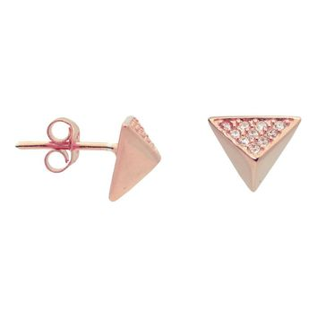 Silver Pink  Plated Triangle Pyramid Stud Earings Cz Side .9mm