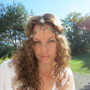 Flower Head Chain, Head Dress, Chain Crown, Headpiece, Chain, Chain Headband, Head Body Chain, Floral, Woodland, Boho, Crown
