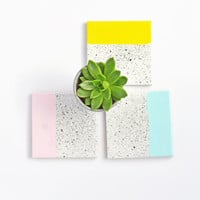 Hand Painted Splatter Ceramic Coasters Color Block Pink Mint Yellow Coral Pastels Geometric Modern Hostess Housewarming Gift