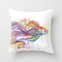 Betta Fish Watercolor Throw Pillow by Olechka