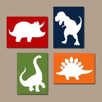 DINOSAUR Wall Art, Dinosaur Decor, Dinosaur Canvas or Prints, DINOSAUR Theme, Baby Boy Dinosaur Nursery Decor, Big Boy Toddler Room Set of 4