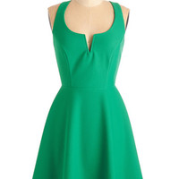 ModCloth Mid-length Sleeveless A-line Shared Laughter Dress in Green