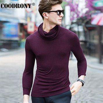 High Quality New Warm Cashmere Sweaters Merino Wool Sweater Men Fashion Pure Color Turtleneck Pullover Men