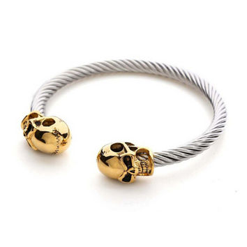 Womens Mens Casual Adjustable Skull Punk Style Bracelet Best Gift