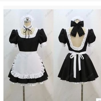 Anime Fate stay night Saber Maid Dress Cosplay Costume any size full set