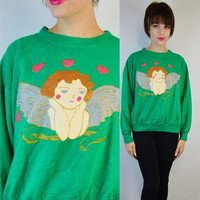 Ugly Christmas Sweater Sweatshirt Medium Large Vintage 90s Angel Glitter Hearts Tacky Xmas Jumper Green Gold Sparkle Ugly Sweater Party
