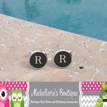 Personalized Gray Mens Cufflinks, Personalized Tie Clip, Monogram Cufflinks, Monogram Tie Clip, Pinstripe, Mens Cufflinks, Gifts for Him