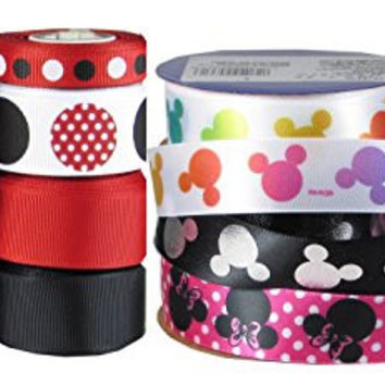 """HipGirl 49yd 7/8"""" & 3/8"""" Ribbon Collection--Minnie Mouse and Mickey Mouse"""