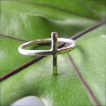 Silver Cross Ring, Hammered, Custom Made, Textured, Handmade, Christian Inspired Jewelry, Stocking Stuffer