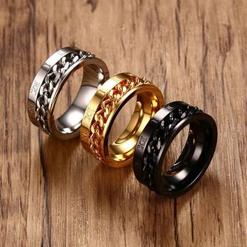 8mm Black/Silver/Gold Color Chain Spinner Ring Men Stainless Steel Roman Numeral Rings Punk Rock Accessories Jewelry Gift Party