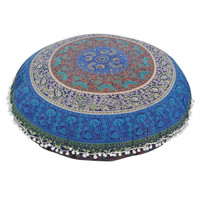 Indian Large Mandala Floor Pillows case Round Bohemian Cushion Cover Decorative