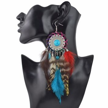 Dream catcher themed dangle earrings w/ real feathers
