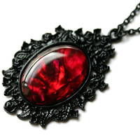 True Blood Red Paua Shell Cameo Necklace