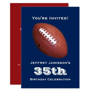 35th Birthday Party Invitation, Football Card