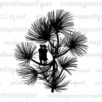 Fairy Couple on Branch Silhouette Image Digital Download Printable Graphic Antique Clip Art Jpg Png Eps  HQ 300dpi No.2205