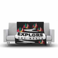 "Famenxt ""Explore the World"" Black White Fleece Throw Blanket"