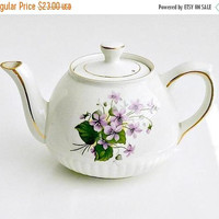 ON SALE Vintage English Teapot, Ellgreave Ironstone Teapot, Wood and Sons, Hand Painted Floral Teapot, Violets Pattern.