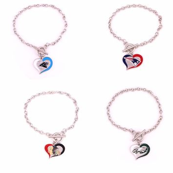 Carolina Panthers 49ers Philadelphia Eagles Patriots Indianapolis Colts Cardinals  Football enamel charms OT Bracelet  jewelry