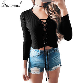 Hot sale lace up 2016 autumn cropped sweater women V neck sexy hot slim knitted short women's sweaters and pullovers jumper 2016