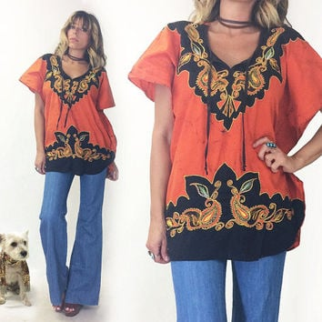 Vintage 1970's EMBROIDERED Batik Caftan Poncho Festival Burnt Orange And Black Tunic Top || Boho Hippie Kaftan || Size S M L