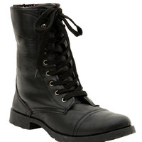 Black Floral Lined Combat Boots