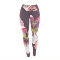 "Love Midge ""Graphic Flower Nasturtium"" Lavender Floral Yoga Leggings"