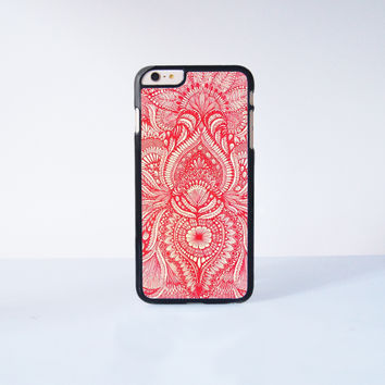 Red Mandala Plastic Case Cover for Apple iPhone 6S Plus  6S 6 6 Plus 4 4s 5 5s 5c