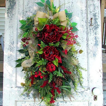 floral door wreath, spring summer fall, all year wreath, all season wreath, everyday swag, winter wreath, french country cottage, red door