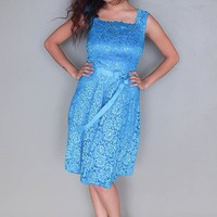 Kiss Me At Midnight Teal Blue Sequin Lace Skater Midi Dress